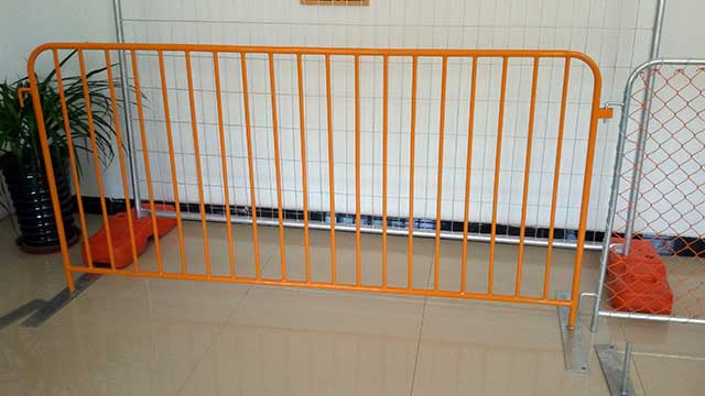 Orange Powder Coated Crowd Barrier - NZTA Compliant